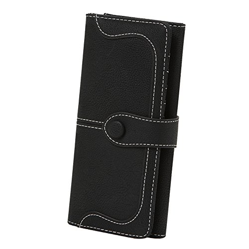 OOOK Women's Vegan Leather 17 Card Slots Long Bifold Organizer - Checkbook Black Wallet Ladies