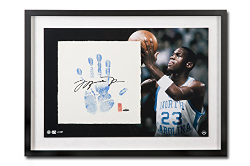 (Michael Jordan Autographed UNC Tar Heels Tegata Lithograph - Framed and Limited to 123)