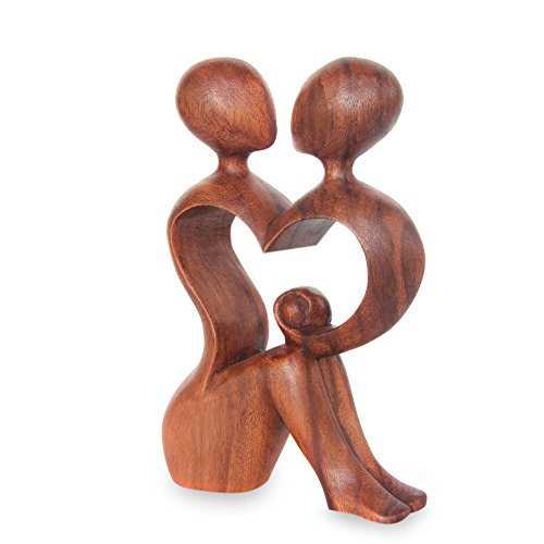 NOVICA Natural Brown Romantic Love Suar Wood Heart Shaped Abstract Human Figure Sculpture, 7.5'' Tall 'A Heart Shared By Two' by NOVICA