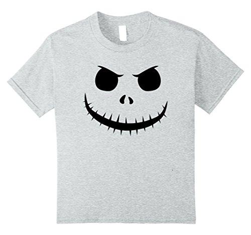 Kids Halloween Pumpkin Jack King Face Unisex T-Shirt 8 Heather (Jack Pumpkin King Halloween Costume)