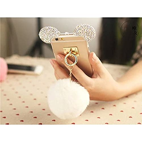 S7 edge Case,MAX-BLV Galaxy s7 edge Luxury Bling Rhinestone Crystal Rabbit Fur Puffer Ball Tassel Pendant Mouse Sales