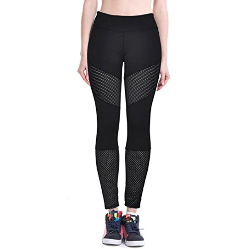 Lookatool Women High Waist Fitness Yoga Sport Pants Nine Points Leggings (S, Black)