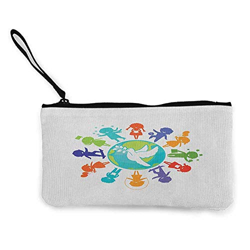 Women's hand bag clutch bag Youth Cute Children Silhouettes around the World with Pigeon Symbol of Peace Earth Planet Wallet Coin Purses Clutch W 8.5
