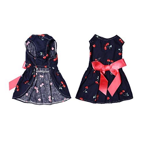 Cherry Dog Dress - Jim-Hugh Summer Cherry Patterns One-Piece Dresses Pet Dog Puppy Princess Dress Cute Pets Clothes XS/S/M/L 1pcs