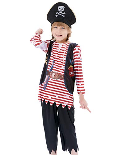 Boys Pirate Costume Set, Skull Crossbones Striped Caribbean Buccaneer Outfit, Captain Jack Pretend Play Suit (10-12Y)