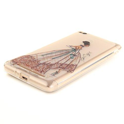 Caja Transparente de Xiaomi Redmi 3, MAGQI Flexible y Durable del gel de TPU a Prueba de Choques [Anti-Rasguñe] Tope de la Absorción y, [Pluma Negra Libre de la Aguja]-Plum Tree Princesa