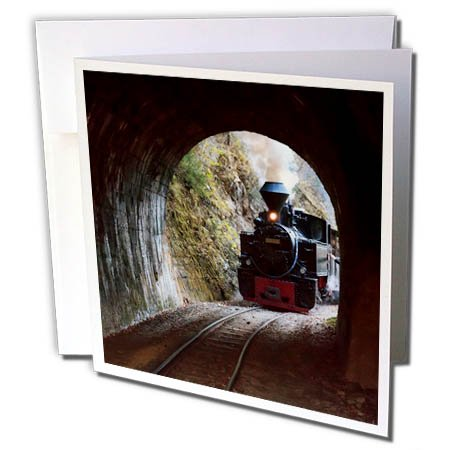 (3dRose Danita Delimont - Trains - Romania, Vaser Valley Railway, Steam Train Entering a Tunnel. - 6 Greeting Cards with envelopes (gc_277882_1))