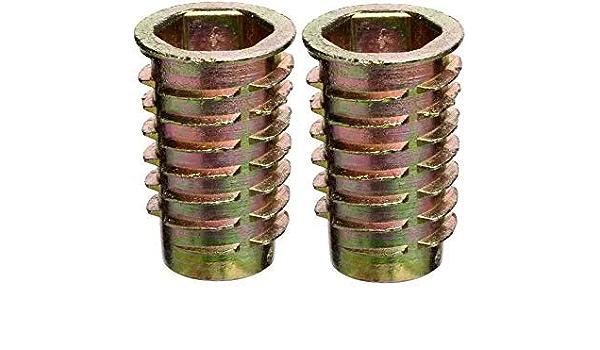 Zinc Pack of 50 E-Z Lok Threaded Insert Hex-Flanged 1//4-20 Internal Threads 25mm Length