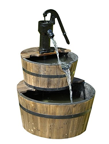 - Wood Barrel with Pump Outdoor Water Fountain - Large Garden Water Fountain Product SKU: PL50001