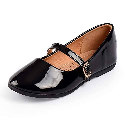 Nova Utopia Toddler Little Girls Dress Ballet Mary Jane Bow Flat Shoes,NF Utopia Girl NFGF060New BlackPatent 12 ()
