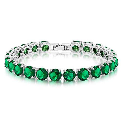 Simulated Emerald Tennis Bracelet Eternity 7mm Round Cut 7 inch ()