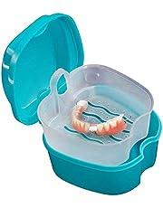 Denture Case Box, Sweeethome Denture Cup Strainer Denture Bath Cups Bath Dentures Container with Basket False Teeth Denture Holder for Travel, cleaning, Store, Retainer Denture Case (blue)