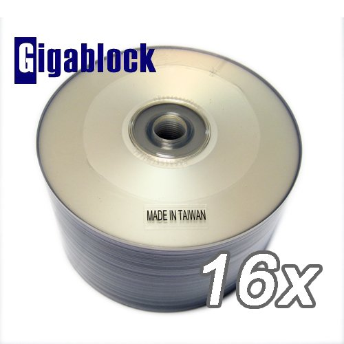 600pcs Gigablock DVD-R 16x 4.7GB 120Min Silver Inkjet Hub Printable Top