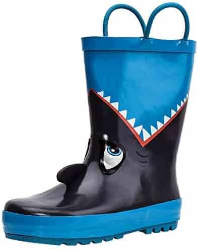 ALEADER Kids Waterproof Rubber Rain Boots Girls, Boys & Toddlers Fun Prints & Handles