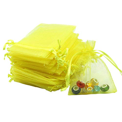 (Dealglad 100pcs Drawstring Organza Jewelry Candy Pouch Party Wedding Favor Gift Bags (3.5x4.5