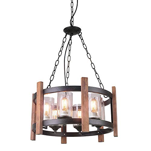 Eumyviv Kitchen Island Orb Wood Chandelier Light with Seeded Glass Shade, Vintage French Country Chandelier Metal Pendant Lamp Industrial Edison Hanging Light Dining Room 6-Lights, Black C0056