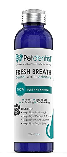 Petdentist Dog Dental Care Fresh Breath Water Additive Plaque Tartar Remover for Dogs Easy Teeth Cleaning Oral Hygiene Freshener Product for Gums Gingivitis Periodontitis and Bad Cat Dog Breath-17.6oz