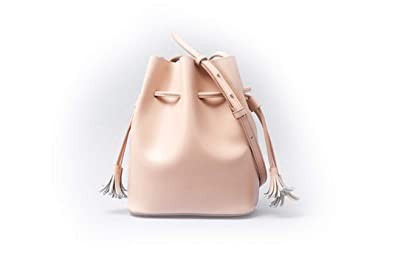 edf9795b7fc8 AUMI 4 Leather Bucket Bag for Women Small Shoulder Pink Purse with ...