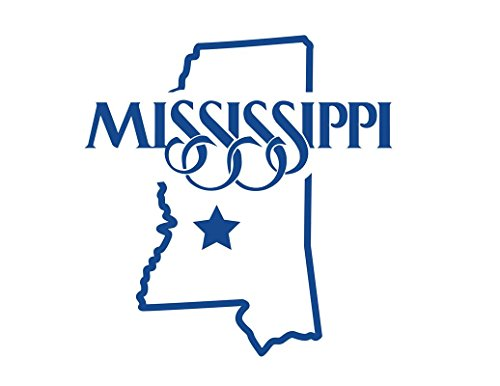ND333B State Of Mississippi Decal Sticker | 5.5-Inches By 5.2-Inches | Premium Quality Blue Vinyl ()