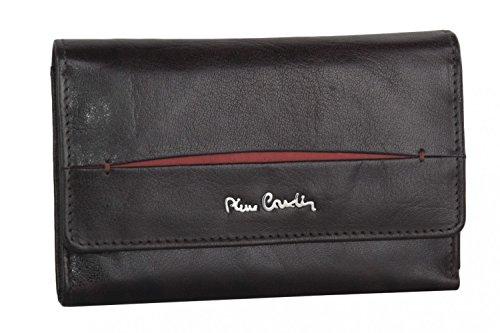 cartera mujer PIERRE CARDIN marrón en cuero con abertura a boton