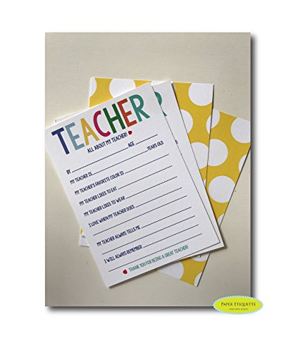 All About My Teacher 5 x 7 Card