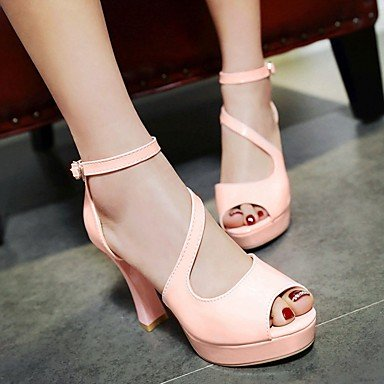 LvYuan Mujer Sandalias Semicuero PU Verano Otoño Paseo Hebilla Tacón Robusto Blanco Negro Rosa 7'5 - 9'5 cms blushing pink