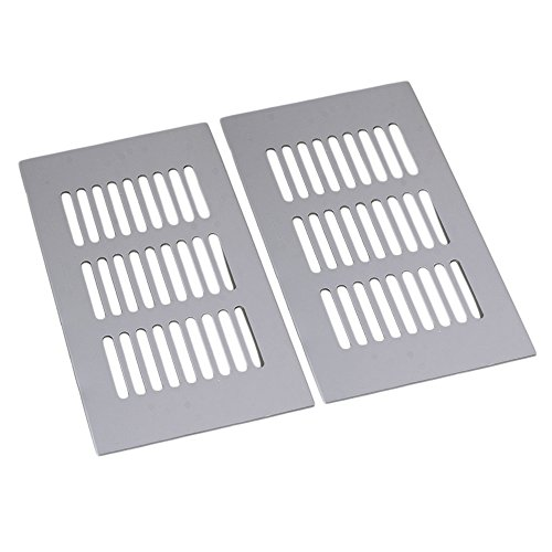 RDEXP Silver Aluminum Alloy Air Vent Grille for Wardrobe Cupboard Pack of 2 (150mm Length) (9x7 Vent)