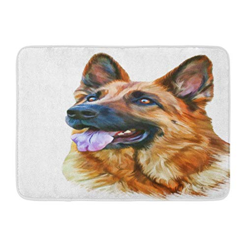 Shepherd Dog Plate - Puyrtdfs Doormats Bath Rugs Outdoor/Indoor Door Mat Green Painting Drawing of The Dog German Shepherd Water Color Paints Animal Bathroom Decor Rug 16
