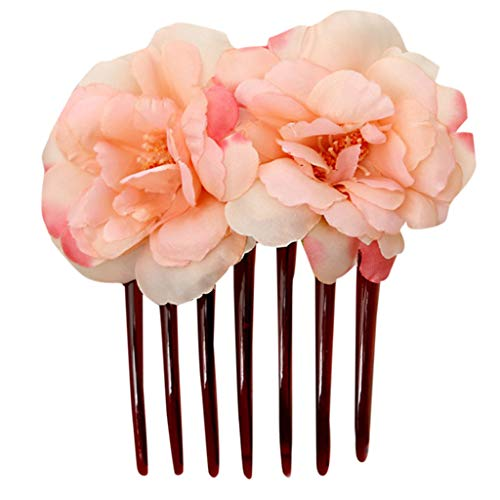 Riverdalin Women Hair Comb Flower Hair Pins Headpiece Hair Accessories Headwear Princess Jewelry for Brides & Girls (Orange)