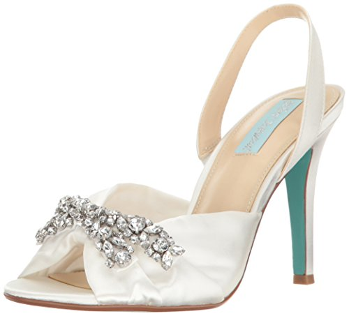 Blue by Betsey Johnson Women's Sb-Briel Dress Sandal, Ivory Satin, 8.5 M US