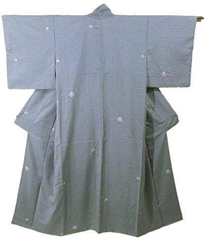 タイル付き添い人ほとんどの場合リサイクル 着物 染紬 唐花や橘の意匠 正絹 袷 裄61cm 身丈155cm