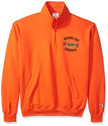 Champion NCAA Oklahoma State Cowboys Men's Power Blend Fleece Quarter-Zip Jacket, Large, Orange ()
