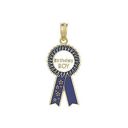 14k Yellow Gold Novelty Charm Pendant, Birthday Boy Ribbon with Blue Enamel ()