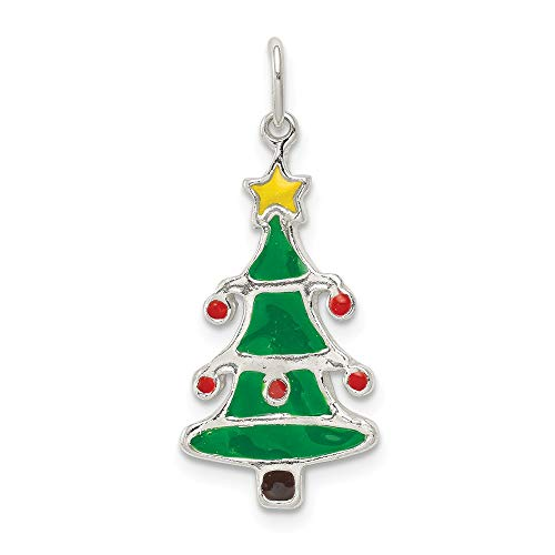 925 Sterling Silver Enamel Christmas Tree Pendant Charm Necklace Holiday Fine Jewelry Gifts For Women For Her