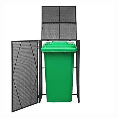 "HomyDelight Waste Container Enclosure, Single Wheelie Bin Shed Poly Rattan 29.9""x30.7""x47.2"" Black"