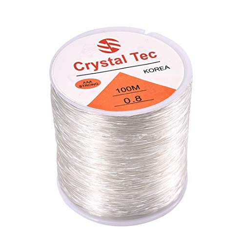 1 Roll 100M Elastic Bracelet String Cord Clear Stretch Bead Cord for Jewelry Making and Bracelet Making 0.8mm×100m White B (Best Cord For Mala Beads)