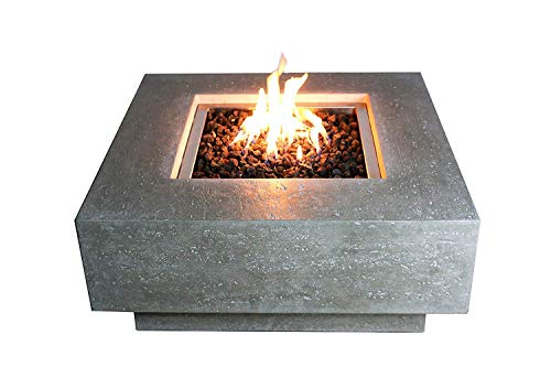 Elementi Manhattan Cast Concrete Natural Gas Fire Table, Outdoor Fire Pit Fire Table/Patio Furniture, 45,000 BTU Auto-Ignition, Stainless Steel Burner, Lava Rock Included ()
