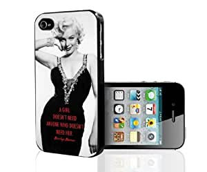 Marilyn Monroe Black Dress A Girl Doesn't Need Quote Hard Cell Phone Case Cover iPhone (i5 5s)