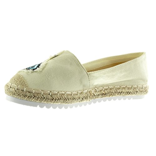 Angkorly - Chaussure Mode Espadrille Mocassin slip-on semelle basket femme fantaisie brodé corde Talon plat 2.5 CM - Beige