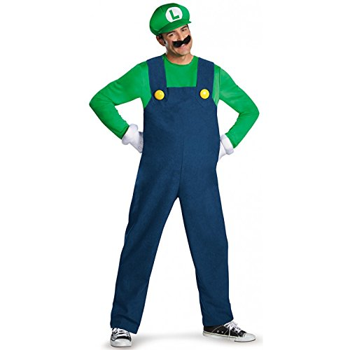 Luigi Costumes Mens (Disguise Costumes Luigi Deluxe Costume, Adult, Medium (38-40 Months))