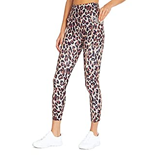 Bally Total Fitness High Rise Pocket Ankle Legging, Leopard Peach Parfait, Small
