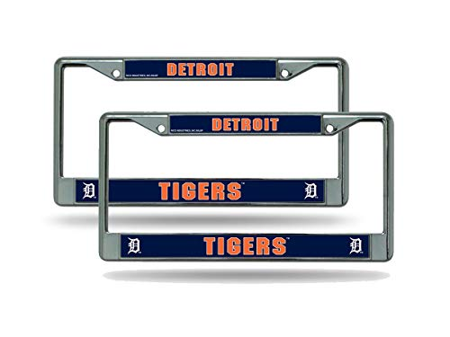 Detroit Tigers Metal - Rico Detroit Tigers MLB (Set of 2) Chrome Metal License Plate Frames