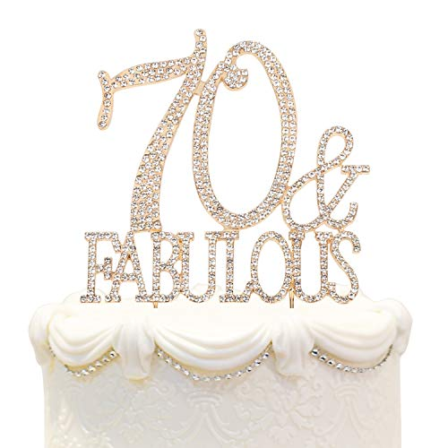 Hatcher lee 70 & Fabulous Cake Topper 70 Years Birthday Or 70th Wedding Anniversary Gold Crystal Rhinestone Party Decoration]()