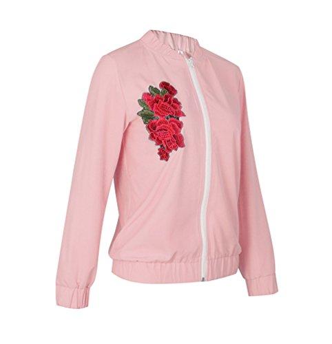 Lunga Zip Donne Elegante L NiSeng Con Bomber Rosa Giubbotto Manica Ricamo Cappotto Floreale 0wwvFpdq