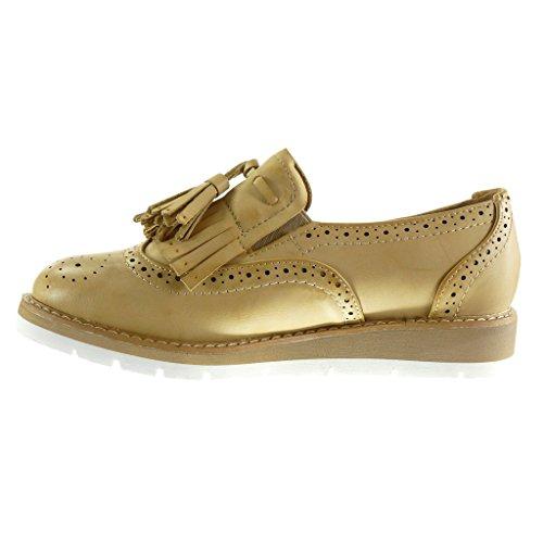 Camel Mocasines Pompom Zapato Zapatillas 3 On Slip Plataforma Angkorly Talón Derby Moda Mujer Perforado Fleco cm Zgwqa