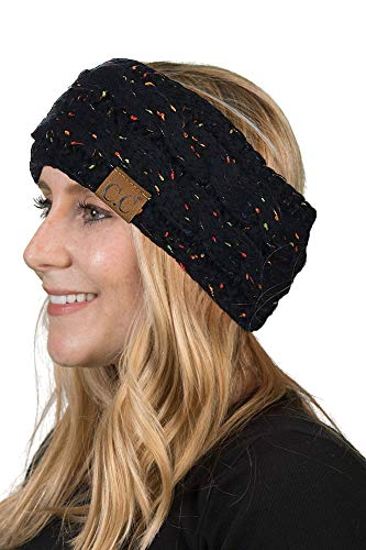Fleece Headband Ear Warmer - HW-6033-06 Funky Junque Head Wrap - Black (Confetti)