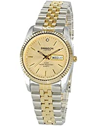 Mens Two-Tone Day-Date Watch Gold Dial