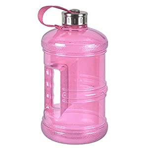 3 Liter BPA Free Reusable Plastic Drinking Water Bottle Jug Container w/ Hand Holder Canteen and Stainless Steel Cap - Pink