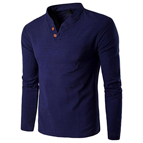 Decor Stand Collar - Clearance!! Men Slim Fit Shirt,Lelili Fashion Long Sleeve Stand Collar V Neck Button Decor Tee Shirt Blouse Top Pullover (L, Navy)