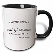 3dRose A smile is the best makeup a girl can wear, Marilyn Monroe quote - Two Tone Black Mug, 11oz (mug_163983_4), 11 oz, Black/White